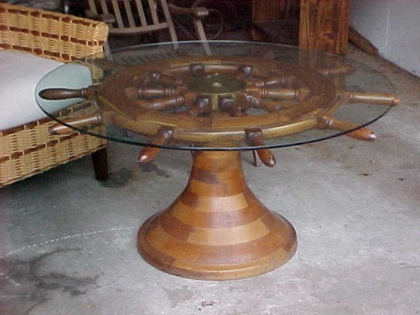 Antique ship s wheel coffee table obnoxious antiques Antique wheels for coffee table