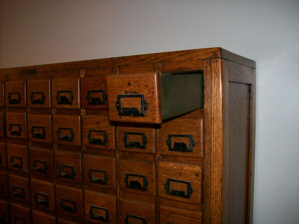 Additional Images - Antique Oak 100 Drawer Hardware Store Cabinet « Obnoxious Antiques