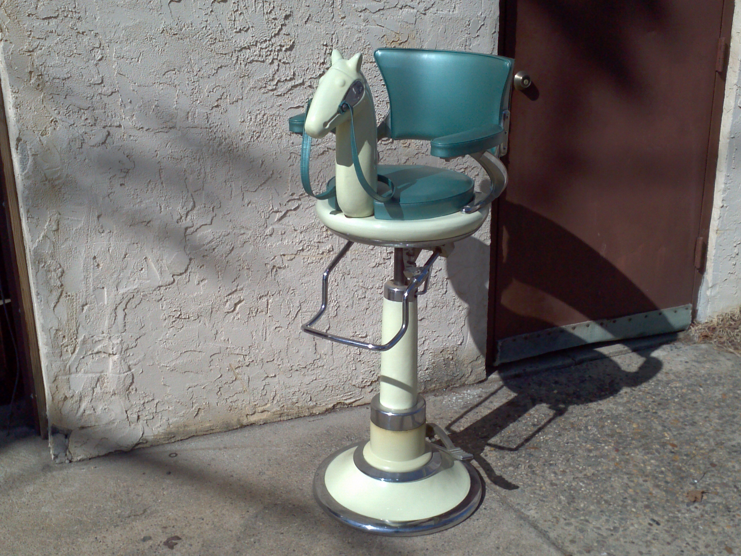 Art Deco Belmont Childs Horse Head Barber Chair Obnoxious Antiques