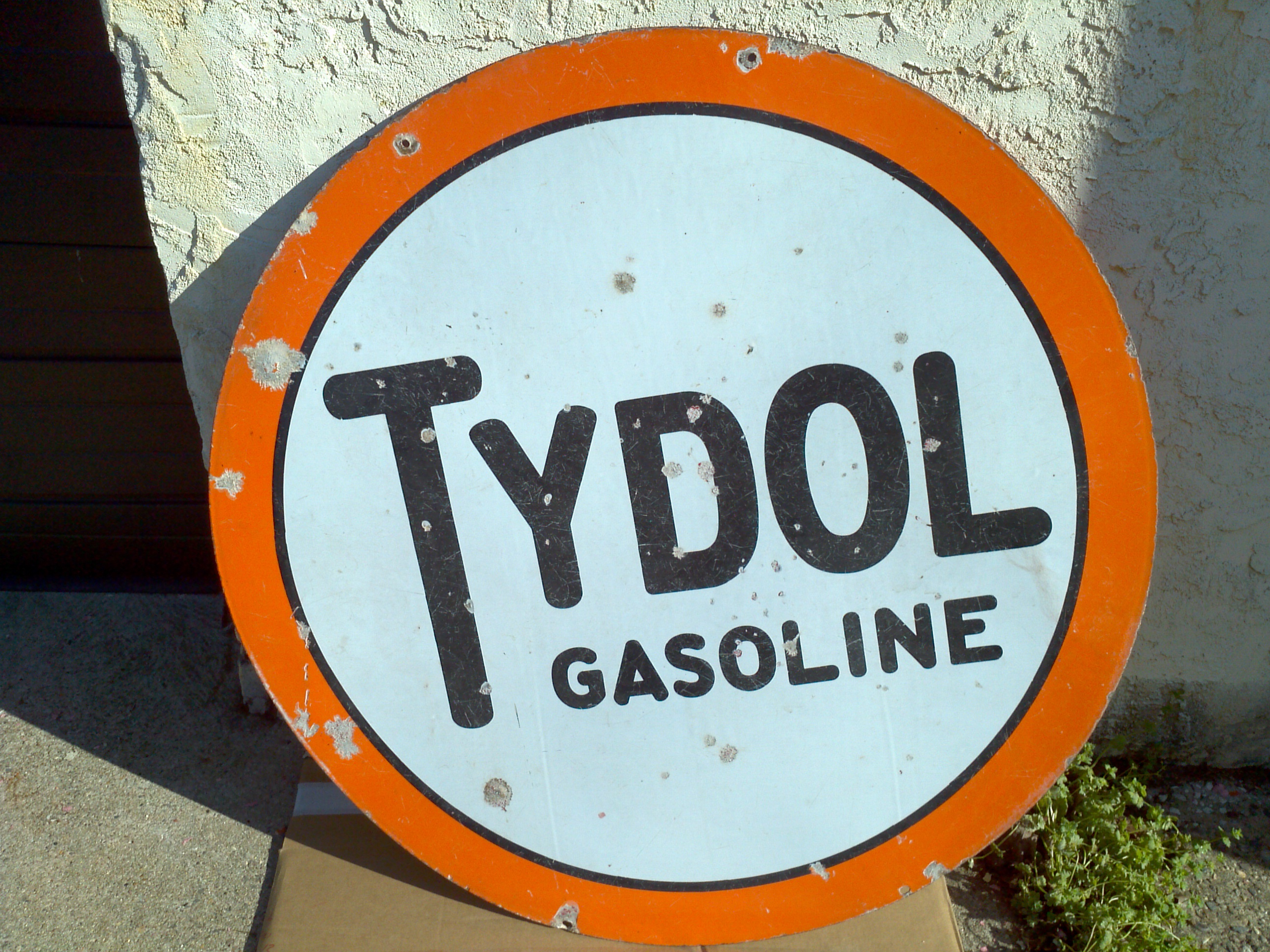 Find Gas Station >> Antique Double Sided Porcelain Tydol Gas Station Sign ...