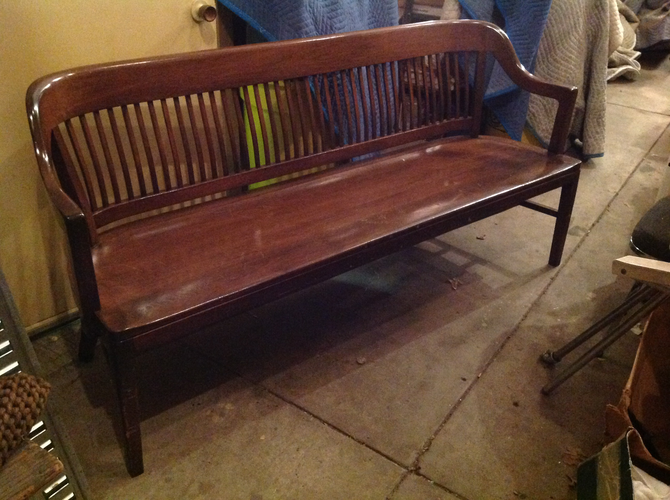 Mid Century Marble And Shattuck Municipal Office Waiting Bench 171 Obnoxious Antiques