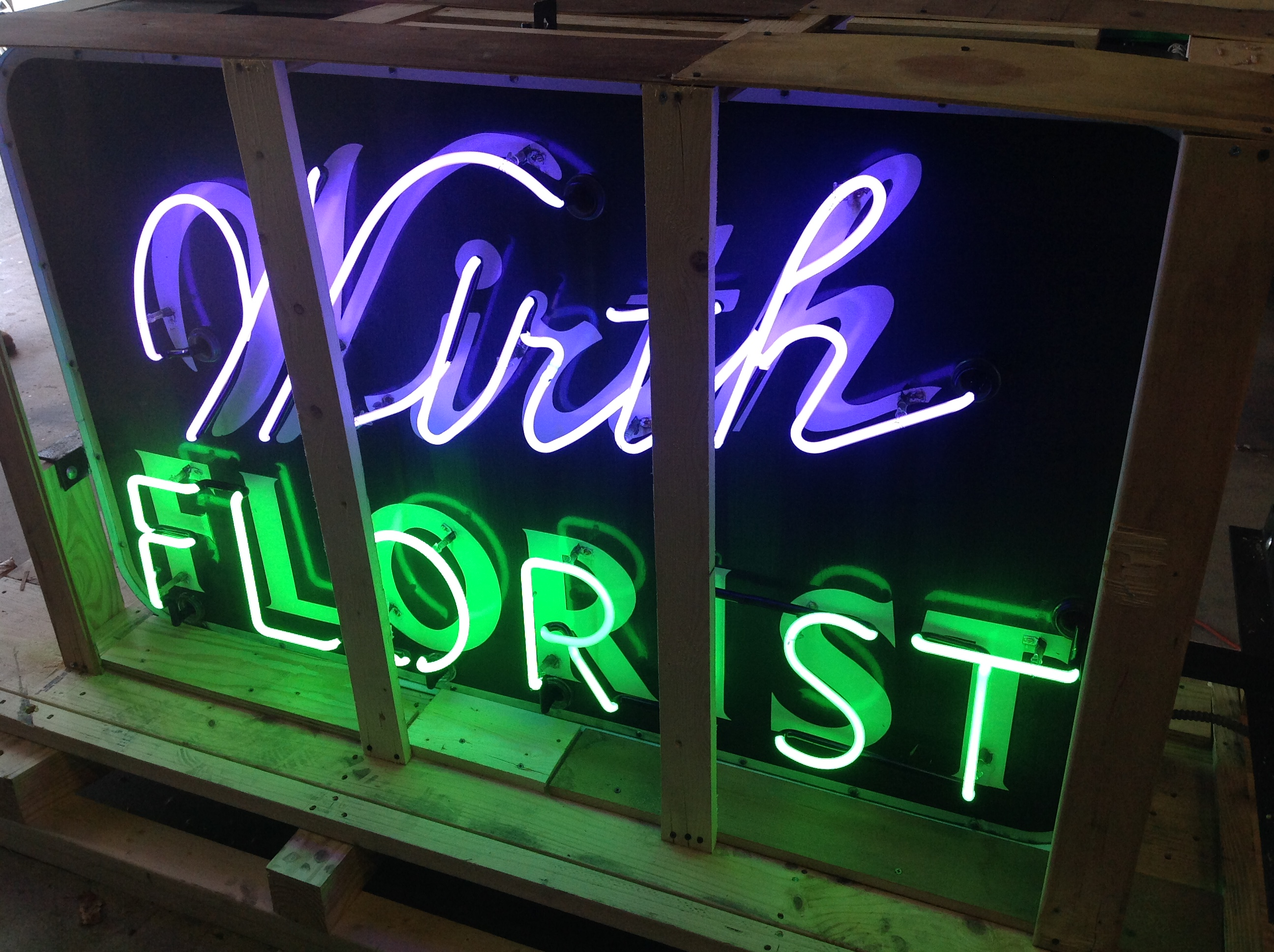 1950 S Double Sided Porcelain Flower Shop Neon Sign