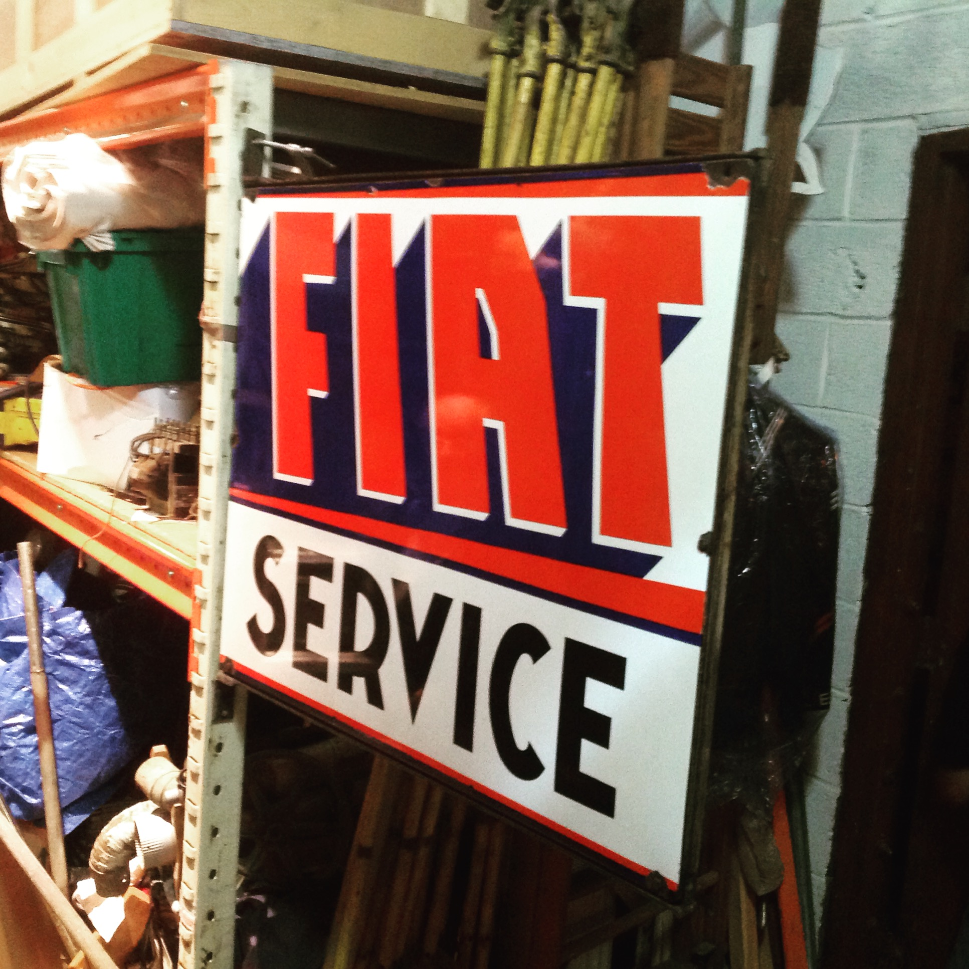 Vintage Advertising Porcelain Double Side Fiat Service Sign - Fiat service