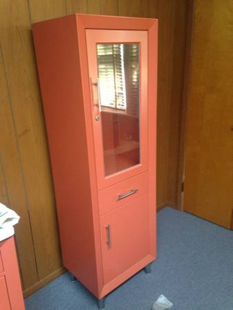 mid century doctors office cabinets trash
