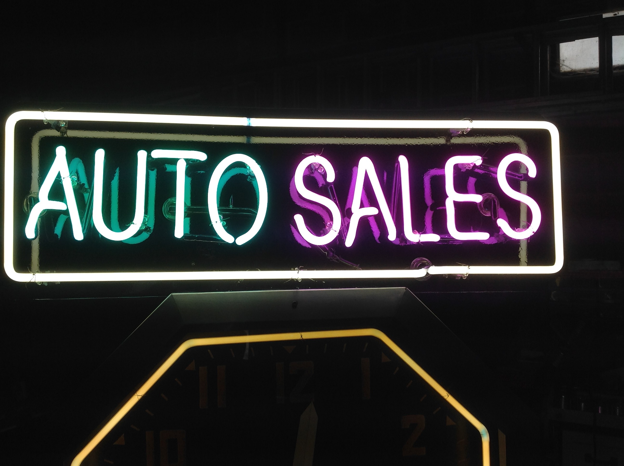 Unique Auto Sales >> Double Sided Neon Auto Sales Clock « Obnoxious Antiques