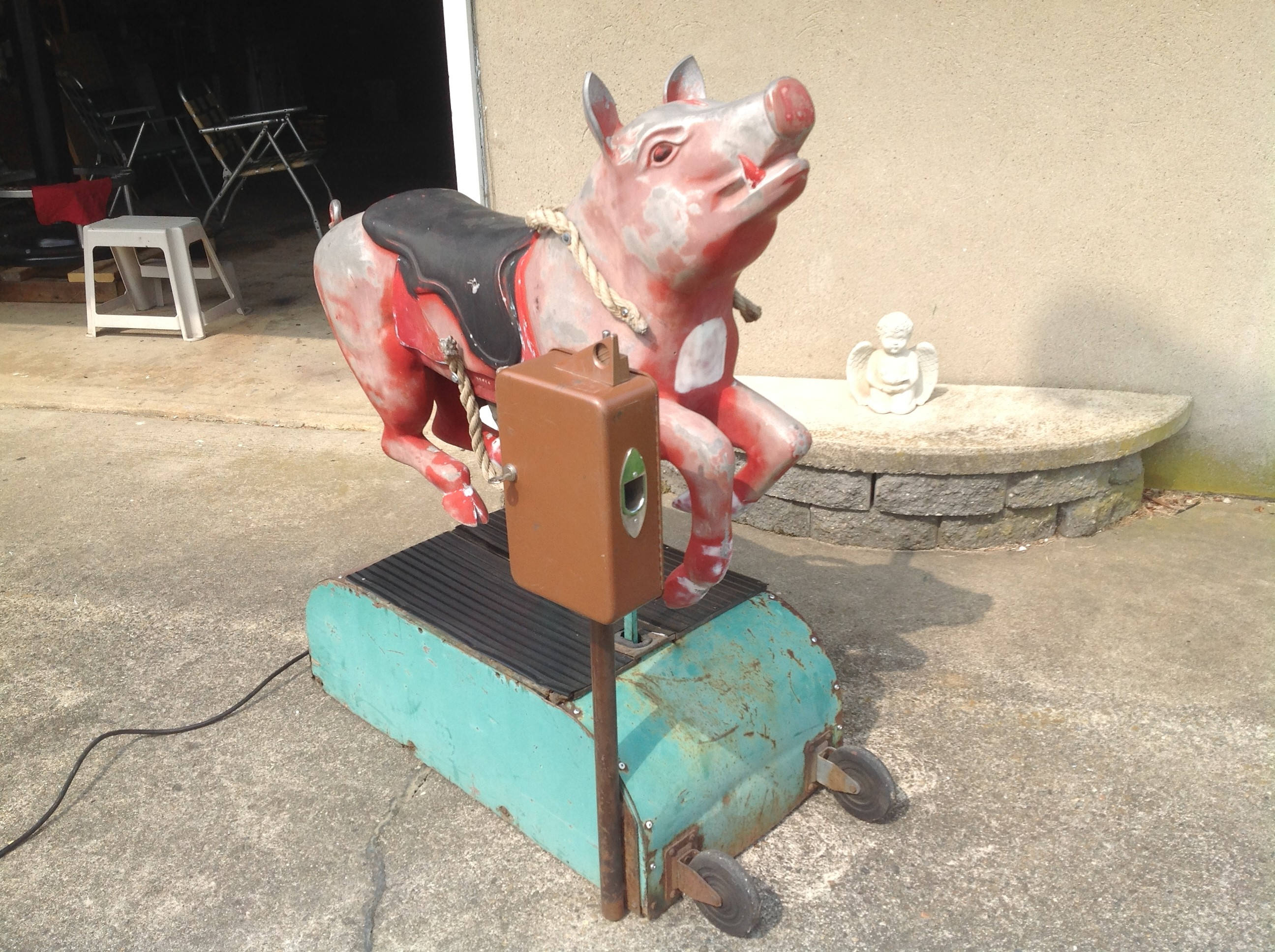 1950's Coin Operated Penny Arcade Kiddie Ride Pig ...