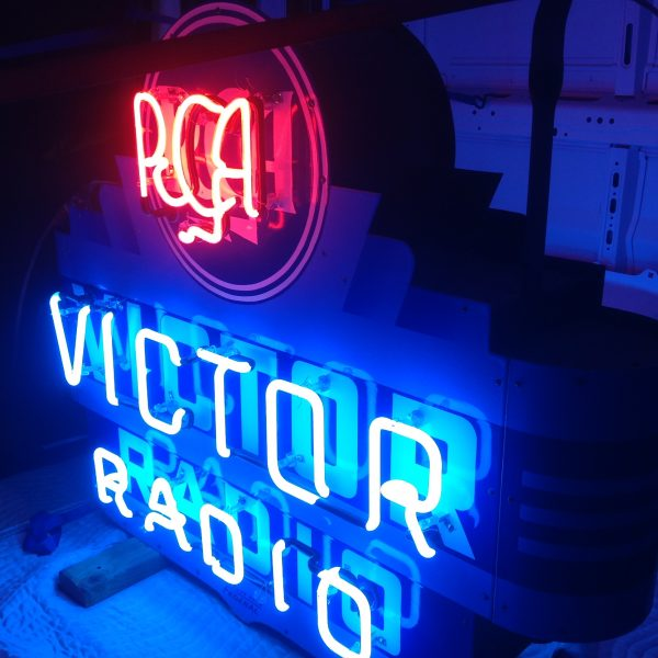 Rca Victor Radio Double Sided Porcelain Art Deco Neon