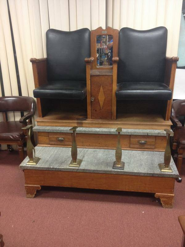 shoe shine stand 2017 - Antique Papa Bros. Boot Black Shoe Shine Stand « Obnoxious Antiques
