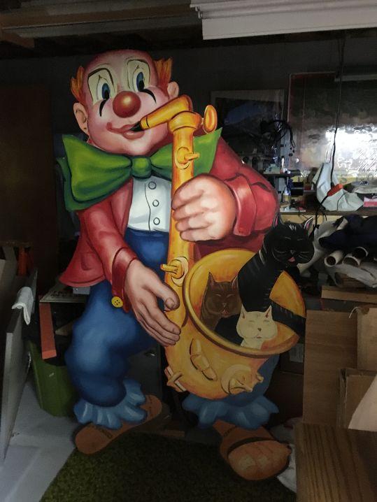 clown wooden horn & cats 1 2019