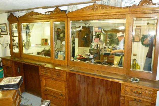 Antique Oak Barber Shop Back Bar 171 Obnoxious Antiques