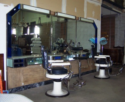 1920 S Art Deco Barber Shop Back Bar And Chairs