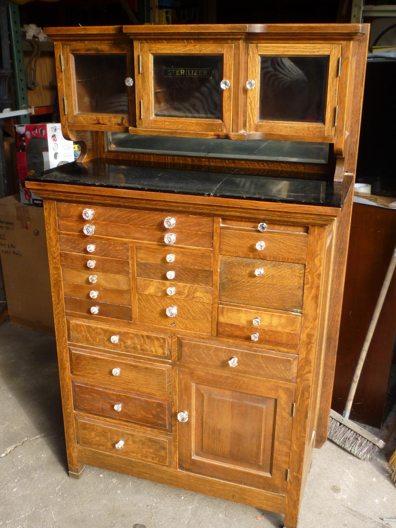 Antique Oak Dentist Cabinet