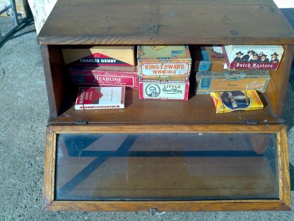Antique Oak Tobacco General Store Display Cabinet