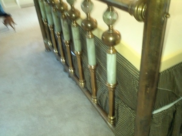 Antique brass and marble double bed obnoxious antiques - Bed made of balls ...