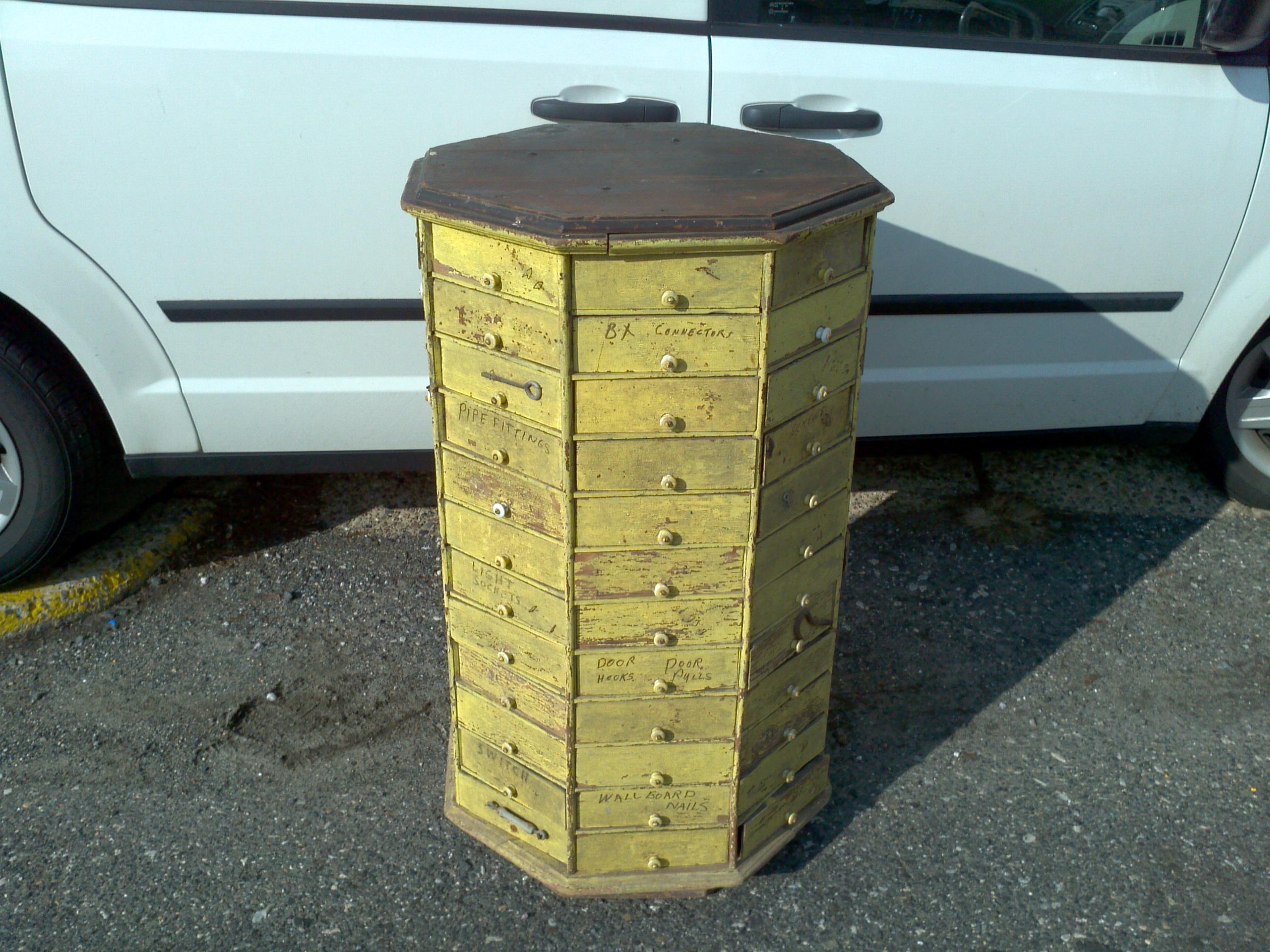 Antique Oak Rotating Hardware Store Cabinet 171 Obnoxious