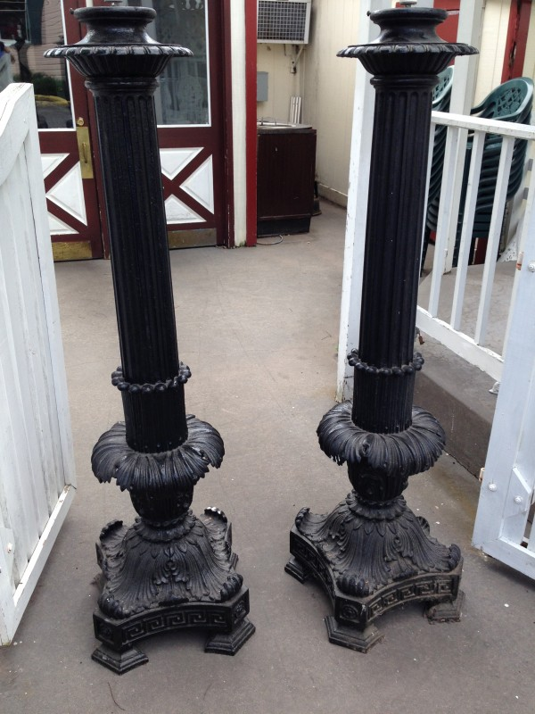 Pair Of Antique Cast Iron Lamp Post 171 Obnoxious Antiques