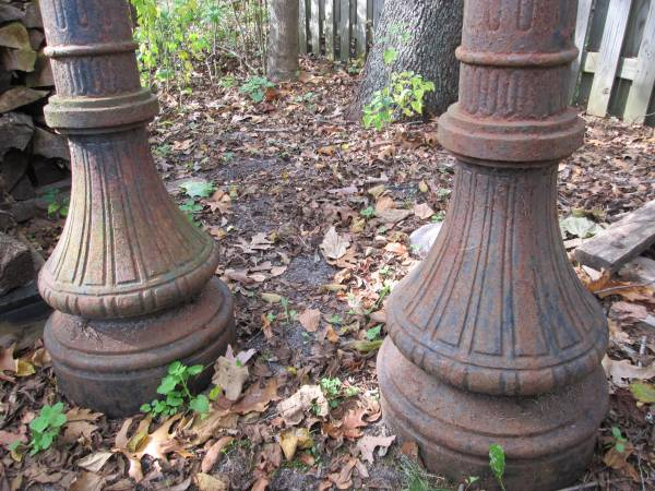 Pair Of Antique Cast Iron Street Lamp Posts Signed George