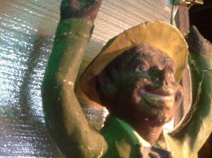 black paper mache statue 4