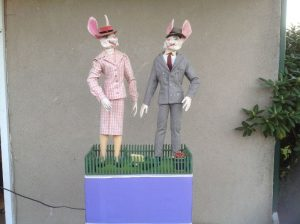 rabbit pair animated store display