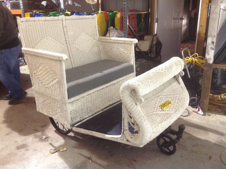 Atlantic City Wicker Boardwalk Push Cart Chair Rolling Obnoxious Antiques